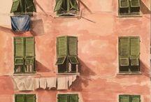 Acuarela en papel / Casa rosa Anadelacerda.com
