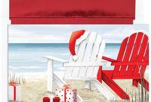 2017 Warm Weather, Tropical Beach Christmas Cards
