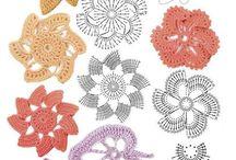 Motywy, kwiaty na szydełku
