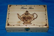 Custom Wood Tea Boxes / Decorative custom & personalized wood burned tea boxes.