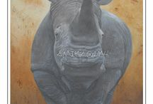 Rhino Paintings / Paintings donated to be auctioned for needed funds