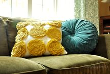 Yellow, Teal, and Grey Living Room