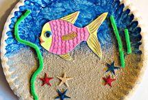 Pappteller-Aquarium Sand