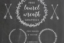 Laurel wreaths & banners