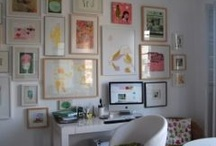 """Gallery Walls / Everything from art ...to found art... to framed wallpaper bits. It can all work together on the wall as long as you  keep it balanced. Keep color, style and relationship to other pieces as well as the style of the room in mind as you plan your wall vignette """"masterpiece"""" on the floor.  If you don't like it once it's all together on the wall you can tweak it here and there until you do. Relax and have fun with it. / by Lisa Seybold"""