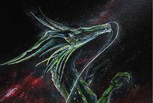 ¨Dragón nebular, pequeño gran espíritu¨ Acrílico sobre papel / Medida: 100cm x 38cm