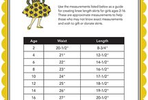 charts for girls body measurements