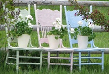Chairs,sofas and swings for romantic style decor / Painted chairs, sofas,benches, swings, hammocks, romantic, pretty furnishings / by Patricia Rose