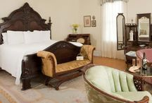 Master Sabine Suite / This spacious suite is the master bedroom of the Manor and named to pay tribute to Dr. Sabine for whom this house was built. Far-reaching Catskill Mountain views reveal the light and mist often painted by Dr. Sabine's friend, Frederick Church.