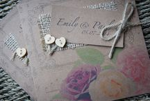 Wedding Stationery - Rose Garden Collection / Our handmade rustic country style Rose Garden collection is printed on beautiful texture kraft card and decorated with hessian, oasis mossing jute twine tie string and Heart Wooden Buttons. www.serendipityweddingdesign.co.uk