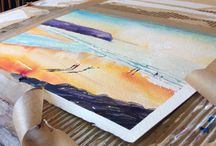 Steve PP's tapepullers / That juicy moment when the tape gets pulled on a finished watercolour painting.  It doesn't matter how many times you do it, that excitement never fails to please! - Steve PP Woolacombe Artist. Paintings of Woolacombe. To see the finished paintings , go to www.stevepp.co.uk
