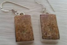 Silver plated earrings with fossil coral / Silver plated earrings with fossil coral