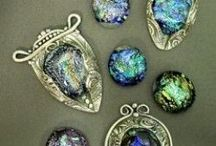 Dichroic glass and metal clay