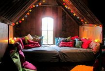 Bedroom 1 / Dark, Blue, Colour, Pattern, Fabric, Cusihions, Cosy, Romantic, Bohemian, Literary, Romantic, Vintage