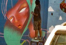 nas nuvens / Pintura em Creche comunitária.