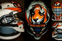 Hockey Helmets by ZimmerDesignZ / Custom painted hockey masks by ZimmerDesignZ.com / by Zimmer DesignZ Airbrush Shop