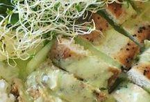 pehuga de pollo con crema de cilantro