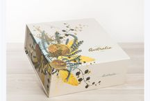 Gift Hamper Boxes / Our Gift Hamper boxes feature our native Australian Fauna and flora at their best. Our boxes are covered with beautiful illustrations inside and out.