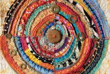 weave pulling thread / fabric art for warmth in and out
