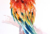 акварель птицы