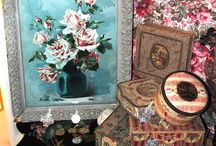Antique Fabric Boxes / Wonderful antique French boudoir boxes covered with antique fabrics