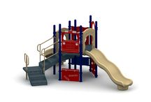 Totville / The totville is a great structure designed for smaller children with a little adventure. This structure has it all from sliding, to climbing and chin up bars. With Totville kids are never to small to have fun.