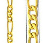 """Figaro Chain Jewelry Necklaces and Bracelets / The Figaro Chain displays a recurring design of three short links followed by a longer link.   You can easily identify this chain by this unique and characteristic design.The principal links of this chain are elongated. A group of three short links is incorporated between each pair of such long links. The term """"Figaro Chain"""" can also refer to other chain styles that contain one long link followed by a specific number of short links in a repeating pattern."""