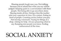 Social Anxiety / Share your social anxiety experiences on our board: A picture, a quote, an article, or video. Please post no more than 3 or 4 at one time so that we all have time to enjoy all pins, and everyone has the same opportunity. If you want to receive an invitation to post, please contact: smcquown AT learntolive.com