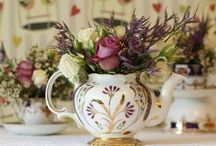 Tea pots with flowers