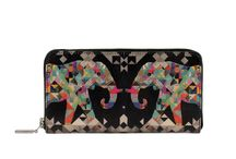 Wallet - The Fortunate Elephant / Women Leather Wallet, Limited Edition Designer Leather Wallet COLOURS OF MY LIFE - Limited Edition wearable art signed by Anca Stefanescu.