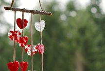 Melted bead heart wind chime / Windchime