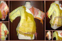 saco corto / confeccionado en una sola pieza, lana y gasa