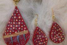 doodle jewelry / handpainted jewelry, handmade jewel, wearable art, anna mega