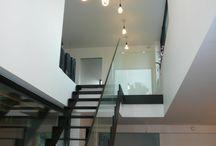Escalier métal, verre....