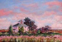 """The Pink House / """"The Pink House"""" stands alone in the marsh on the road to Plum Island.  It is a well loved land mark for those of us who know the area and is a common celebrity on the walls on the NAA."""