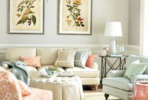Cream And Coral Living Room