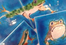 Fun Frog & Lizard tiles / Such personalities ! Our unique hand-made frog & lizard ceramic  tiles add a burst of colour to any kitchen or bathroom wall .