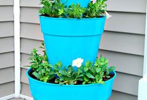 Welcome, blue tiered flower pots.