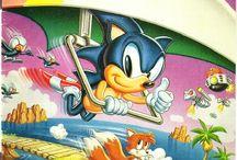 Sonic the Hedgehog box arts. / Box arts from Sega's mascot, Sonic.