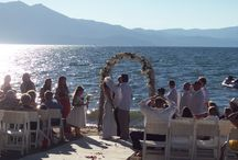 Sand Ceremony ~ Lake Tahoe Wedding Venue / Beautiful lake front wedding at our newest Lake Tahoe wedding venue that offers it all!  The Sand Ceremony Wedding Package puts the entire wedding party and guests right on the beautiful shore of our pristine Alpine Lake.  The heated tent is the perfect spot for your wedding reception and rooms are available on site for any visiting family or friends!