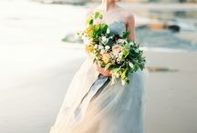 Bridal Beach Wedding Inspiration / Fine Art Wedding Photography Inspiration. Beach Wedding using Fuji 400h Film.