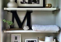 Bookshelves staged