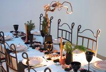 Des fleurs, du cuivre et du marbre / Mon réveillon 2015 déclinée sur la palette cuivre, marbre et noir avec des fleurs en papier pour centre de table.