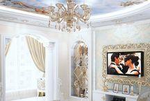 """Дизайн интерьера квартиры в стиле ампир / Пожелания заказчика: создать классический дизайн интерьера квартиры в стиле ампир с элементами барокко, без """"глобальных"""" изменений в планировке квартиры."""