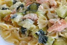 pâtes saumon courgette et boursin