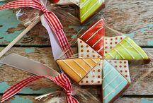 Pinwheels decorated cookies