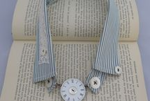 Ali Ferguson - Vintage Collar Neckpieces / Fabulous neck-pieces made from Vintage gents collars, lace, buttons & bits. The whole range is inspired by my love of vintage treasures! The necklace fronts are made from old enamel watch faces. They are detachable so that the collar can be easily washed - I put mine in the washing machine inside a pillow case. The collars themselves are about 50 years old - they have been washed and worn but in great condition.