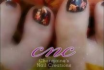 CNC Shellac & Lecente Nails / CNC shellac nail and lecente foils glitters and neon designs