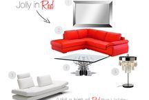 Jolly in Red / Get in the Holiday spirit by adding red to your living room.