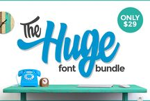 The Huge Font Bundle - September 2015 / Our biggest font bundle yet includes an amazing 49 fonts plus 17 FREE fonts as well. Thats just $0.44 per font. This huge pack is only available for September 2015.   http://www.thehungryjpeg.com/the-huge-font-bundle